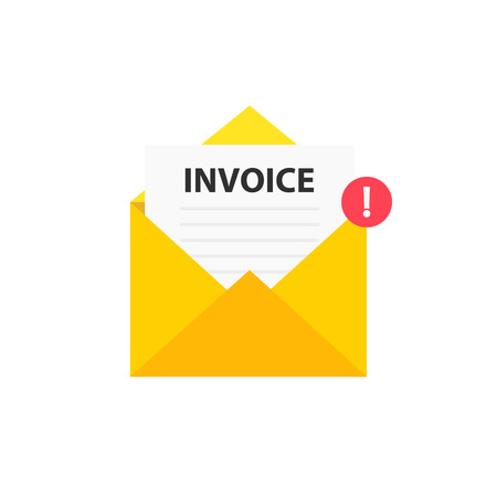 Invoice envelope icon with a picture of a closed letter. Paper document enclosed in an envelope. Delivery of correspondence or office documents. Vector illustration Stockfoto
