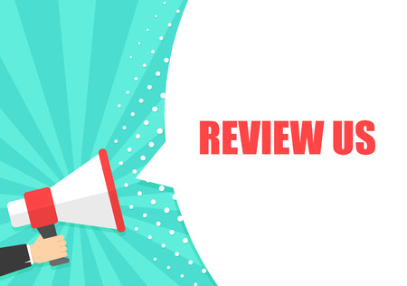 Male hand holding megaphone with Review us speech bubble. Loudspeaker. Banner for business, marketing and advertising. Vector illustration Stock Photo