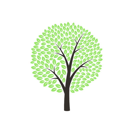Green Tree on white background. Vector illustration