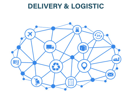 Delivery and Logistics concept. Express Delivery. Web icon set. Logistic, service, shipping, distribution, transport market conceptsVector illustration