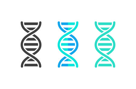 DNA or chromosome abstract strand symbol set. Vector illustration Çizim