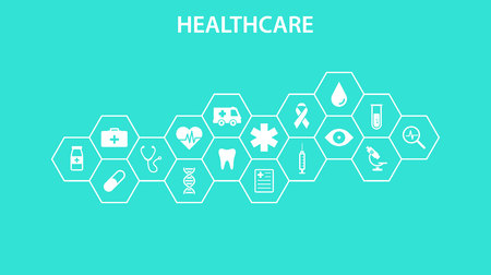 Healthcare concept. Abstract hexagons shape medicine and science background with icons for medical, health, strategy, care, medicine, health, cross, dna, poster, web banner Vector illustration