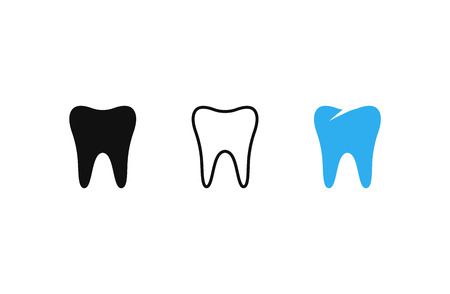 Teeth icons set. Outline tooth. Black tooth. Vector illustration