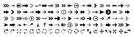 Arrows set of 100 black icons. Arrow icon. Arrow vector collection. Arrow. Cursor. Modern simple arrows. Vector illustration Illustration