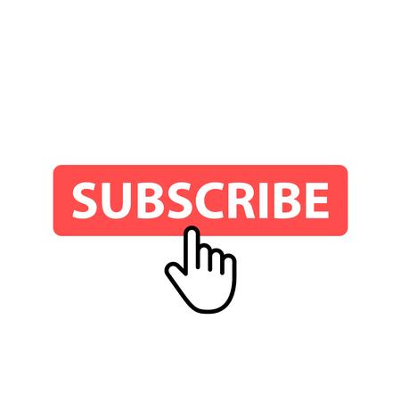 Ikona przycisku Subskrybuj. Ilustracja wektorowa. Kursor. Wideo. Media społecznościowe.