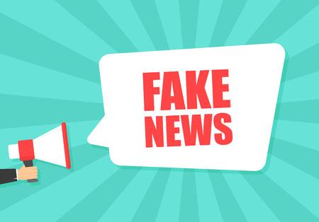 Mano masculina que sostiene el megáfono con bocadillo de diálogo de noticias falsas. Altoparlante. Banner para negocios, marketing y publicidad. Ilustración vectorial.