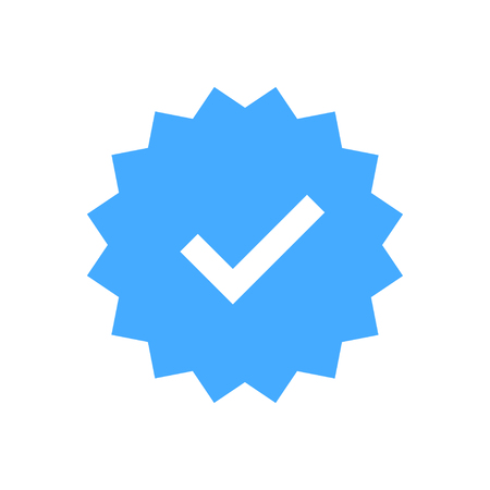 Approved icon. Profile Verification. Accept badge. Quality icon. Check mark. Sticker with tick. Vector illustration Vectores