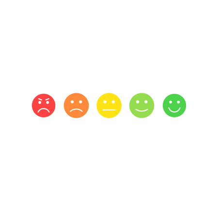 Feedback vector concept. Rank, level of satisfaction rating. Excellent, good, normal, bad awful. Feedback in form of emotions, smileys, emoji. User experience Review of consumer Reklamní fotografie - 121772199