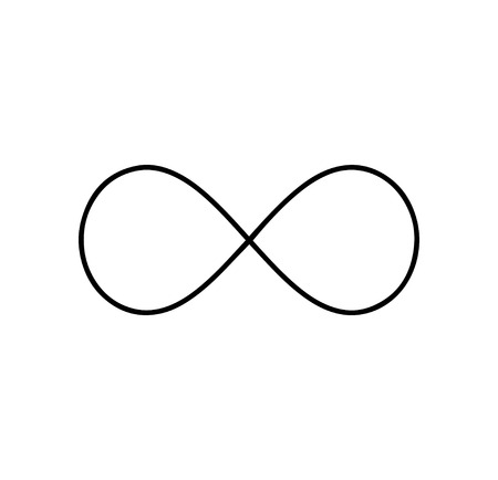 Black infinity symbol icon. Concept of infinite, limitless and endless Ilustrace