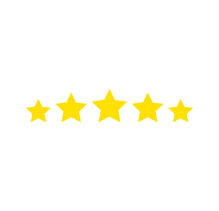 Five stars rating. Star icon. Feedback consumer or customer review evaluation banner, satisfaction level and critic icon concept. Vector illustration. Stars icon