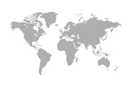 Mappa del mondo isolato su sfondo bianco. Illustrazione vettoriale Vettoriali