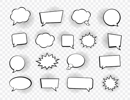 Big set of speech bubbles. Retro empty comic bubbles. Stickers. Vector illustration