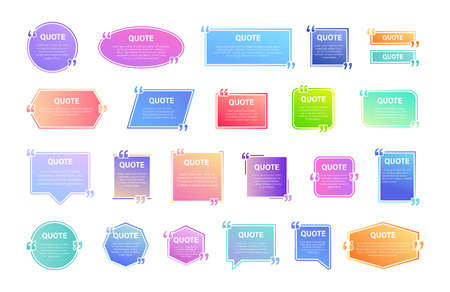 Quote box frame, big set. Texting quote boxes. Colored gradient blank template quote text info design boxes quotation bubble blog quotes symbols. Creative vector banner illustration