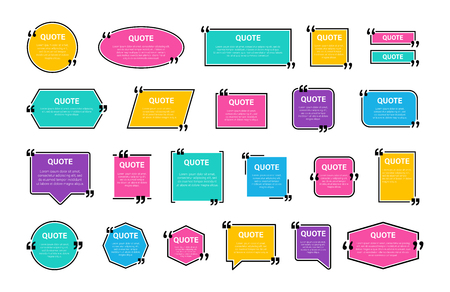 Quote box frame, big set. Texting quote boxes. Colored Blank template quote text info design boxes quotation bubble blog quotes symbols. Creative vector banner illustration