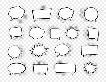 Big set of speech bubbles. Retro empty comic bubbles. Stickers. Vector illustration