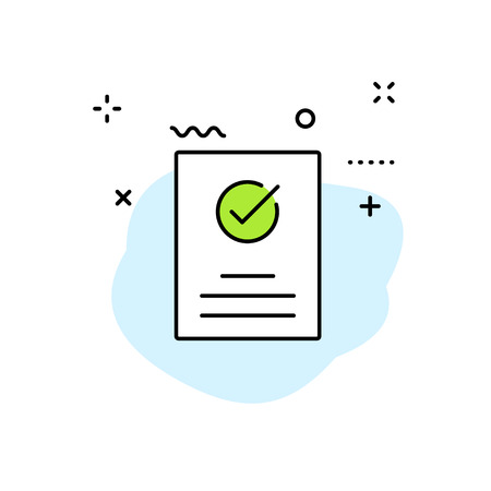 Check mark icons in line style. Stamp, check list, verified, approval, accepted Vector illustration
