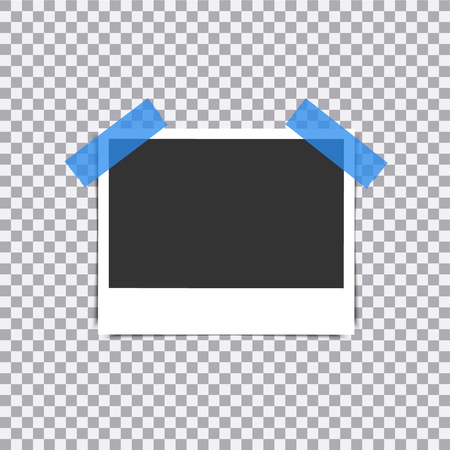 Retro realistic vector photo frame placed on transparent background. Иллюстрация