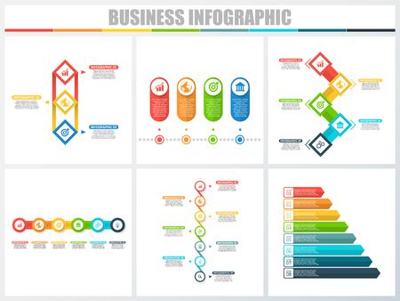 Streszczenie infografiki liczba opcji szablon 3, 4, 5, 6, 7, 8. Ilustracja wektorowa. Może być używany do układu przepływu pracy, diagramu, opcji strategii kroków biznesowych, banera i zestawu do projektowania stron internetowych