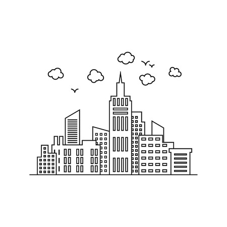 City template. Thin line City landscape. Downtown with high skyscrapers. Vector illustration background