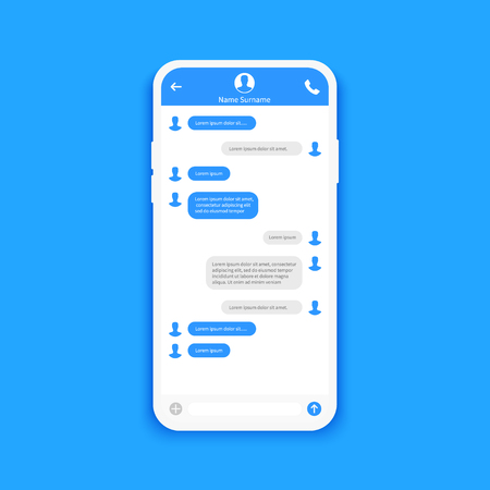 Chat interface. Sms messages. Speech bubbles. Short message service bubbles. Flat interface Vector illustration Vettoriali