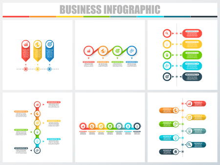 Abstract infographics number options template 3, 4, 5, 6, 7, 8. Vector illustration. Can be used for workflow layout, diagram, strategy business step options, banner and web design set Vetores