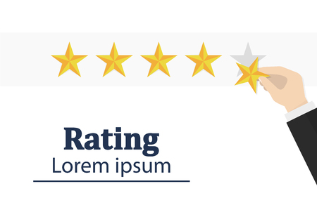 Star rating. Human hand. Businessman holding a gold star in hand, to give five. Feedback concept. Evaluation system. Positive review. Vector illustration flat design. Isolated on white background. Good work Stock Illustratie