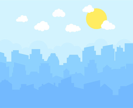 City with blue sky, white clouds and sun. cityscape skyline flat panoramic vector background