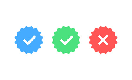 Approved icon. Profile Verification. Accept badge. Quality icon. Check mark. Sticker with tick. Vector illustration  イラスト・ベクター素材