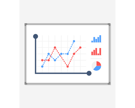 Business presentation icon. Board with a growing chart, a diagram. White board isolated on background. Vector illustration of a flat design. The report screen with business strategies of market data statistics Çizim