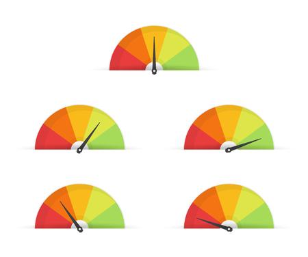 Klanttevredenheidsmeter snelheidsmeter set. vector illustratie