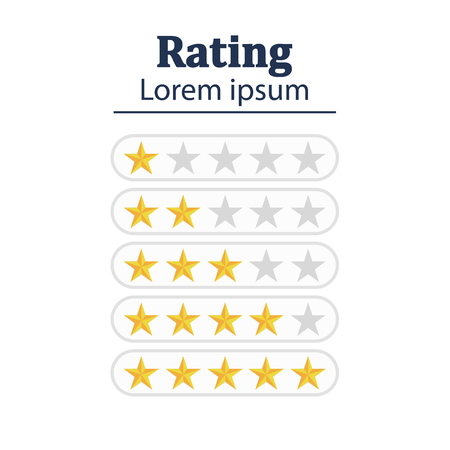 Star rating. Feedback concept. Evaluation system. Positive review. Vector illustration flat design. Isolated on white background. Good work Stock Illustratie
