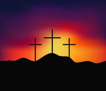 Christian religious design for Easter celebration, Saviour cross on dramatic sunrise scene, vector illustration  イラスト・ベクター素材
