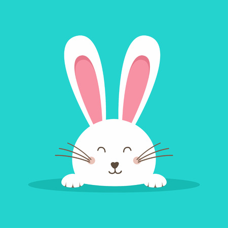 Happy Easter web banner. Greeting card with rabbit. Bunny ears. Vector illustration 向量圖像