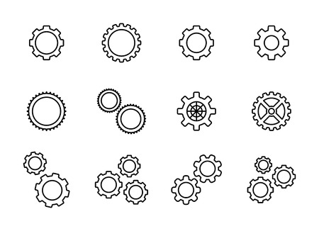 Big set gear. Settings or options. Vector Illustration Ilustração
