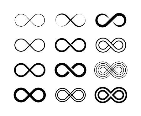 Infinity symbol big set. Unlimited infinity, endless. Vector illustration 向量圖像