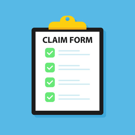 Clipboard claim form. Check list. Online claim form. Vector illustration