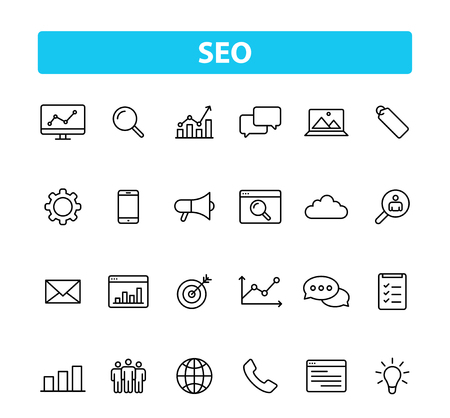 Set of 24 SEO and Development icons in line style. Contact, Target, Website. Vector illustration