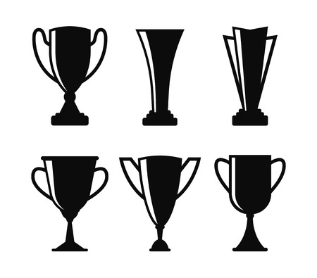 Black cup icon set. Black trophy. Prize cup. Winners cup. Collection of different golden cup. First place. Vector illustration Çizim