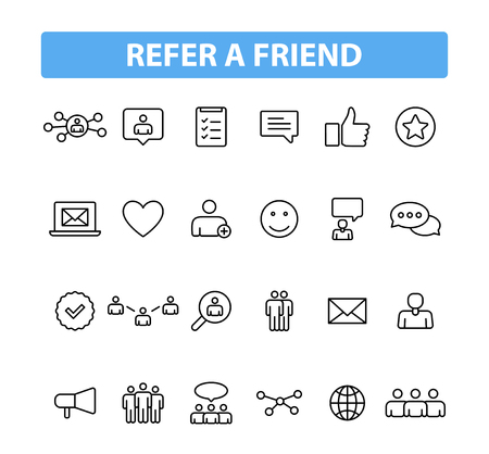 Set of 24 Refer a friend icons in line style. Referral program, marketing, invite friends. Vector illustration