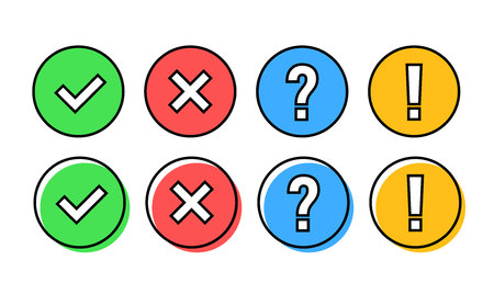 Check mark icon set. Green OK or V tick, red X, exclamation mark, Question mark. Approval signs. Check list, test, quiz. Vector illustration