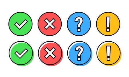 Conjunto de iconos de marca de verificación. Verde OK o marca V, X roja, signo de exclamación, signo de interrogación. Señales de aprobación. Lista de verificación, prueba, cuestionario. Ilustración vectorial
