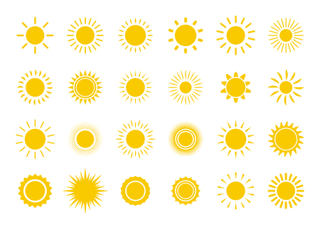 Sun icon set. Yellow sun star icons collection. Summer, sunlight, nature, sky. Vector illustration isolated on white background Illusztráció