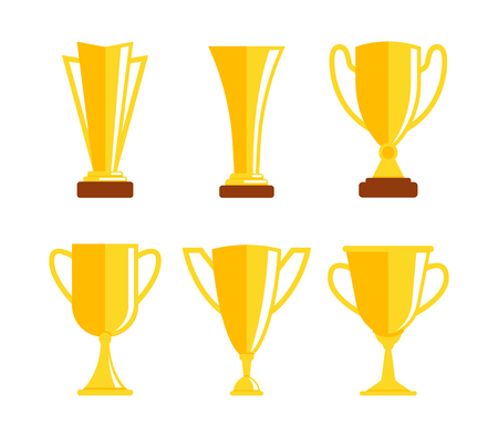 Golden cup icon set. Gold trophy. Prize cup. Winners cup. Collection of different golden cup. First place. Vector illustration Çizim