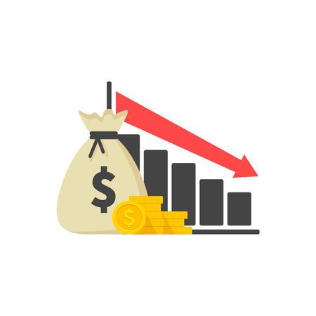 Cost reduction icon. Image isolated on white background. Vector illustration Illustration