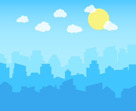 City with blue sky, white clouds and sun. cityscape skyline flat panoramic vector background Vector Illustratie