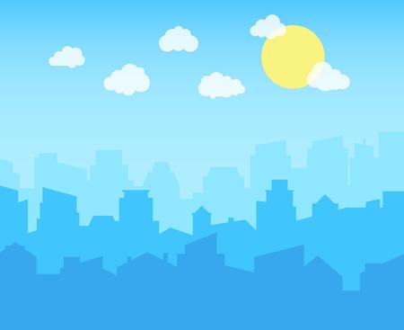 Ville avec ciel bleu, nuages blancs et soleil. paysage urbain horizon plat panoramique vecteur fond Vecteurs
