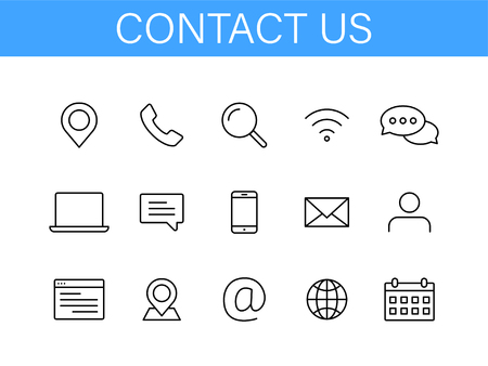 Set of Contact Us icons in line style. Web and mobile icon. Chat, support, message, phone. Vector illustration