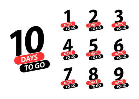 Número 1, 2, 3, 4 5 6 7 8 9 10 de días restantes para ir Banner de página de destino de venta de insignias de colección