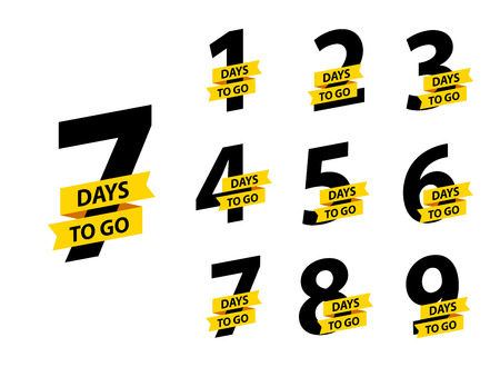 Number 1, 2, 3, 4 5 6 7 8 9 10 of days left to go Collection badges sale landing page banner 版權商用圖片 - 121314560