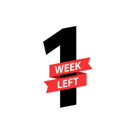 Number 1 of week left to go. Collection badges sale, landing page, banner Illustration
